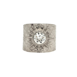 Sormus, BOHM PARIS|Bague Anais rhodium avec cristal clair