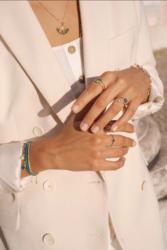 Sormus, BOHM PARIS|Bague Ally dorée avec cristal beige