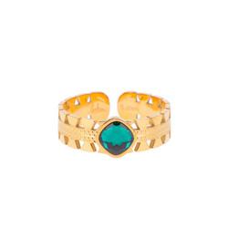 Sormus, BOHM PARIS|Bague Ghita dorée avec cristal emerald green