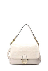 Laukku, BESTINI Paris|Large Handbag in Cream with Gold Buckle