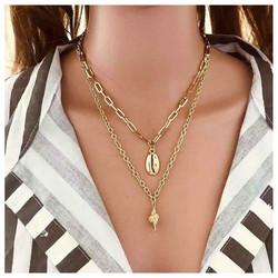 Kerroskaulakoru, FRENCH RIVIERA|Two Layer Seashell Necklace in Gold