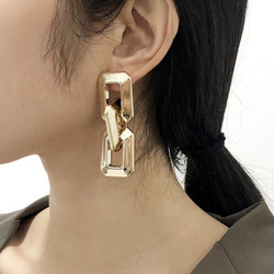 Korvakorut, PAPARAZZI|Chunky Square Gold Chain Earrings