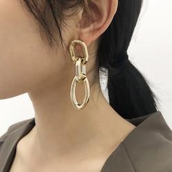 Korvakorut, PAPARAZZI|Chunky Oval Gold Chain Earrings