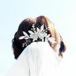 Hiuskoru, ROMANCE Matt Silver Hairpiece with Leafs and Flowers
