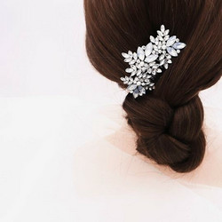 Hiuskoru, ROMANCE Silver Hairpiece with Opal and Clear Leafs