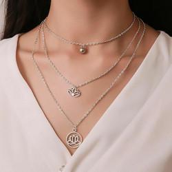Kerroskaulakoru, FRENCH RIVIERA|Boho Necklace in Silver with Lotus