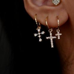 Korvakorut, PAPARAZZI|Set of Trendy Cross Earrings