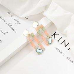 Korvakorut, FRENCH RIVIERA|Modern Pink Marble Earrings in Gold