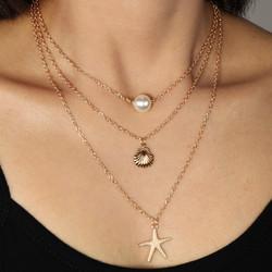 Kerroskaulakoru, FRENCH RIVIERA|Summer Seastar Necklace in Gold