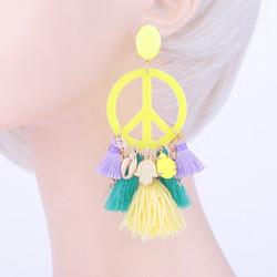 Korvakorut, PAPARAZZI|Peace Earrings in Neon Yellow