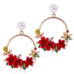 Korvakorut, FRENCH RIVIERA|Pretty Flower Earrings in Red