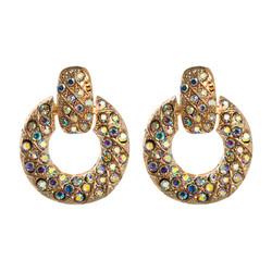 Korvakorut, FRENCH RIVIERA|Stylish Gold Earrings with AB Stones