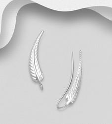Hopeiset korvakorut, Long Feather Earrings