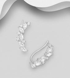 Hopeiset korvakorut, Long CZ Twine Earrings
