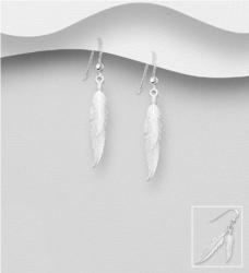 Hopeiset korvakorut, Matte Feathers -sulkakorvakorut