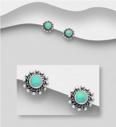 Hopeanapit, PREMIUM COLLECTION|Bohemian Earstuds with Turqoise