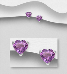 Hopeanapit, PREMIUM COLLECTION|Amethyst Heart Earstuds