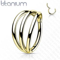 Lävistysrengas, Implant Grade Titanium Triple Hoops in Gold