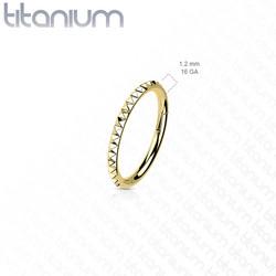 Lävistysrengas, Implant Grade Titanium Pyramid Cut Hoop in Gold