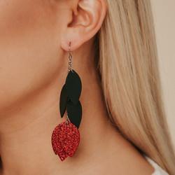 LEMPI-korvakorut, Lehdellinen tulppaani (vihreä, punainen glitter)