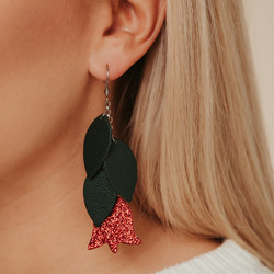 LEMPI-korvakorut, Frida (vihreä, punainen glitter)