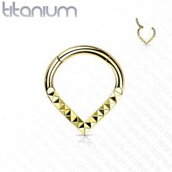 Lävistysrengas, Implant Grade Titanium Teardrop Pyramid Cut Hoop in GD