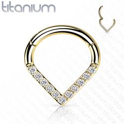 Lävistysrengas, Implant Grade Titanium Single Line CZ Hoop in Gold