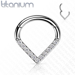 Lävistysrengas, Implant Grade Titanium Single Line CZ Hoop