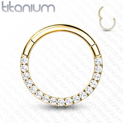 Lävistysrengas, Front Facing Titanium Hinged Hoop Ring with CZ in Gold