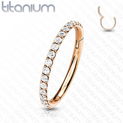 Lävistysrengas, Titanium Hinged Segment Hoop Ring with CZ in Rosegold