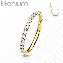 Lävistysrengas 1mm, Titanium Hinged Segment Hoop Ring with CZ in Gold