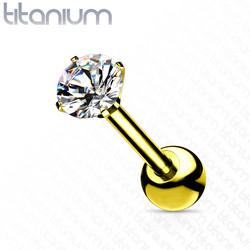 Rustokoru/traguskoru, Titanium Barbell with 4mm CZ in Gold