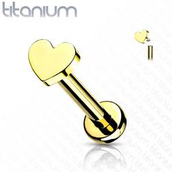 Rustokoru/traguskoru, Implant Grade Titanium Mini Heart in Gold
