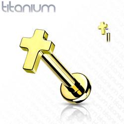 Rustokoru/traguskoru, Implant Grade Titanium Mini Cross in Gold
