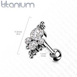 Rustokoru/traguskoru, Implant Grade Titanium Bezel Set CZ
