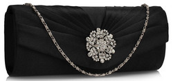 Iltalaukku, Black Satin Eveningbag with Crystals