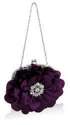 Iltalaukku, Purple Flower Eveningbag with Crystals