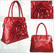 Red Fashion Tote Handbag With Oversized Flower