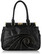 Black Floral Tote Shoulder Bag With Ruffled Zipper Accents
