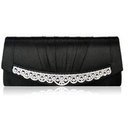 Iltalaukku, Black Satin  with Long Decoration