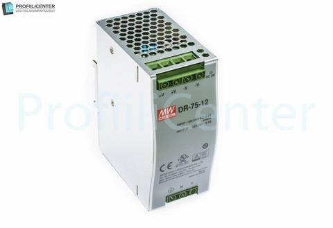 Himmennettävä Mean Well LED Virtalähde 12VDC 75W (DIN-kisko)