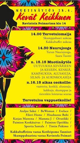 Kevät keikkuen muotinäytös 28.4.2019.  HUOM! Lue tuotekuvaus.