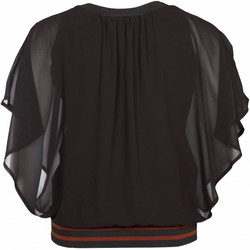 Stella paita, musta sifonkipaita ihastuttavalla helmaresorilla