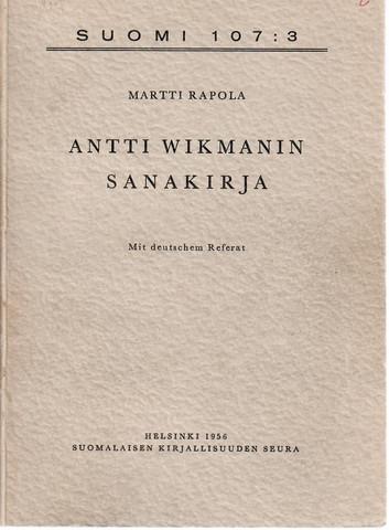 Rapola, Martti: Antti Wikmanin sanakirja