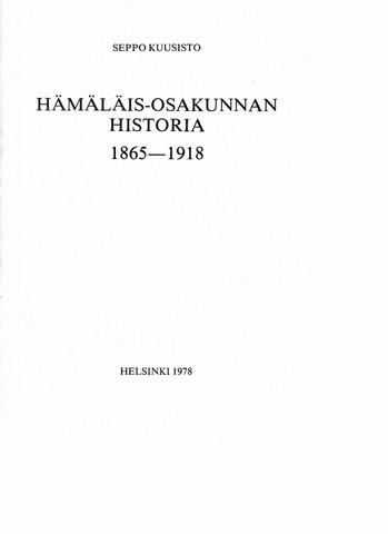 Kuusisto, Seppo: Hämäläis-osakunnan historia 1865-1918