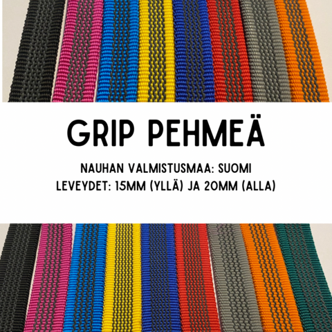 GRIP-hihna, pituus: 1,8m (lev. 15 & 20mm / materiaali: Pehmeä)