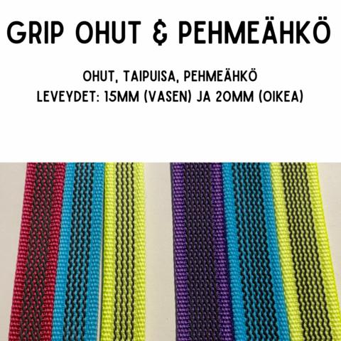 GRIP-hihna, pit: 2,2m (lev. 15 & 20mm / materiaali: ohut & pehmeähkö)