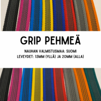 GRIP-hihna, pituus: 3m (lev. 15 & 20mm / materiaali: Pehmeä)