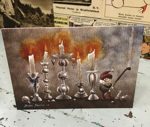 Joulukortti: Vanhat kynttilänjalat (Katja Saario)