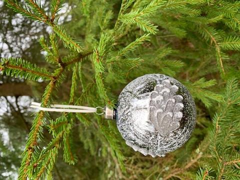 Weisteen lasipallo grafiitti, kuusenkoriste, joulukoriste
